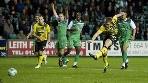 James Forrest scores for Celtic against Hibernian in 2011