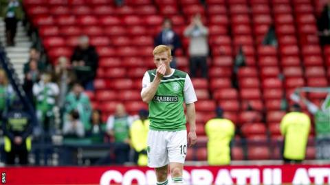 Hibs' Eoin Doyle following the Scottish Cup final defeat by Hearts