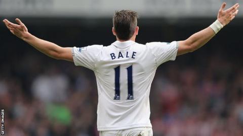 Gareth Bale salutes the Tottenham fans