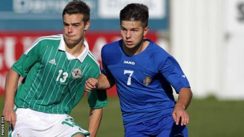 Mathew Clarke in action for Northern Ireland Under-19s against Moldova