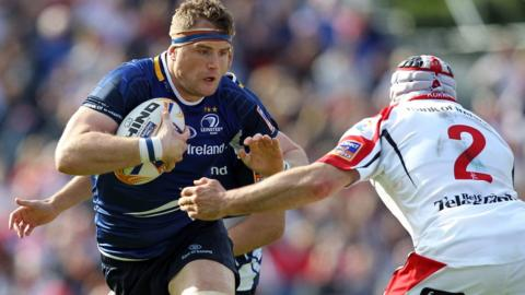 Jamie Heaslip in action against fellow Irish international Rory Best during the Pro12 final