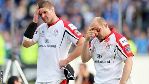Ulster captain Johann Muller and Rory Best show their disappointment after the final whistle in the Pro12 decider