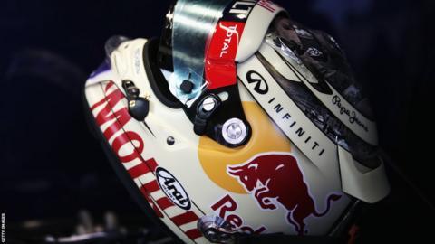 The specially designed drivers helmet of Sebastian Vettel