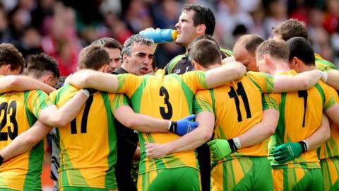 Donegal manager Jim McGuinness addresses his players before the much anticipated Ulster SFC quarter-final