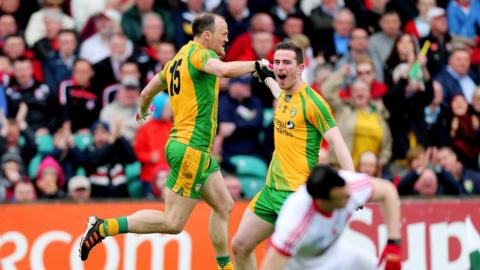 Colm McFadden and Patrick McBrearty celebrate after Donegal score the first of their two goals