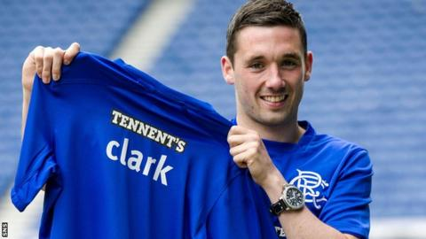 Nicky Clark shows off his new strip at Ibrox