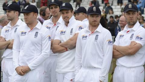 England wait for the presentation ceeremony