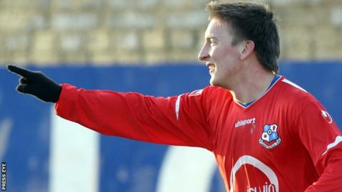 Stephen Doyle celebrates scoring for Loughgall