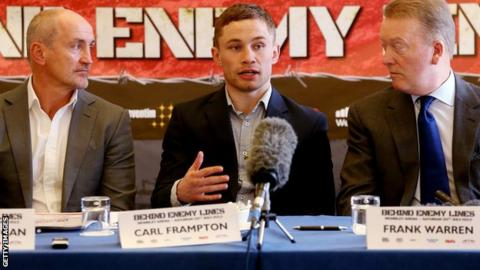 Carl Frampton with manager Barry McGuigan and promoter Frank Warren