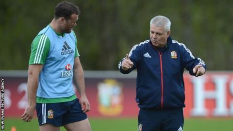 Lions coach Warren Gatland with Jamie Roberts