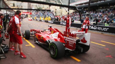 Ferrari pit at the Monaco Grand Prix