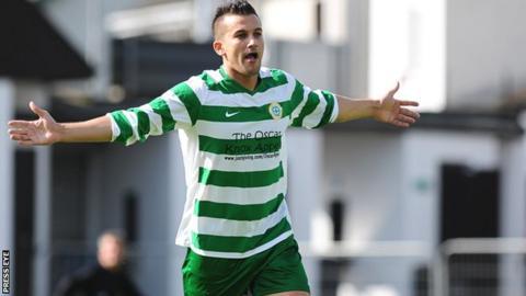 Mark Miskimmin celebrates scoring for Donegal Celtic