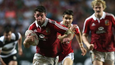 Wing Alex Cuthbert scores two Lions tries in Honk Kong