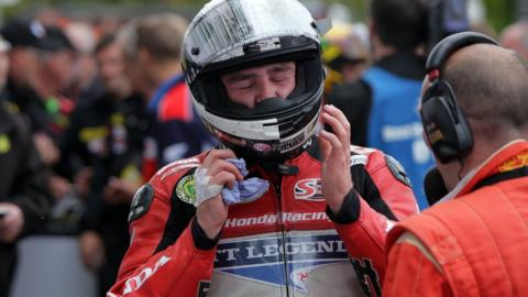 An emotional Michael Dunlop after fulfilling his dream of clinching Superbike success at the Isle of Man TT Races