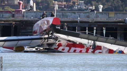 Catamaran Artemis capsized in San Francisco Bay