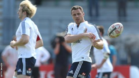 Tommy Bowe during Lions training