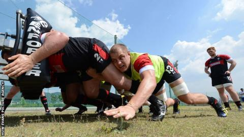 James King training with Wales in Japan