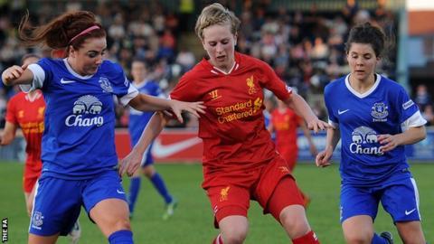 Alex Greenwood (left) of Everton Ladies FC in action with Natasha Dowie of Liverpool Ladies