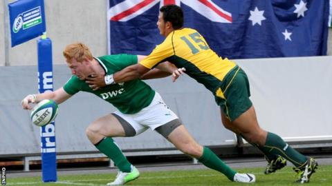 Ulster's Rory Scholes scores try for Ireland