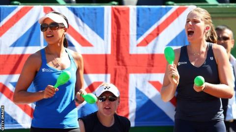 Anne Keothavong (left) and Johanna Konta (right) with Elena Baltacha in the middle