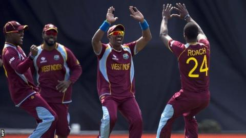 West Indies celebrate at The Oval