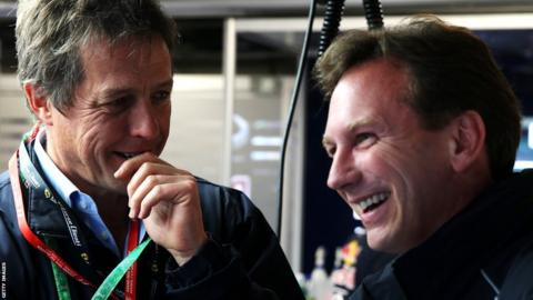 Hugh Grant and Christian Horner