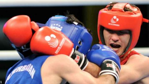 Andrew Selby (right) beats Azerbaijan's Elvin Mamishzade in the European Amateur Boxing Championships flyweight semi final in Minsk
