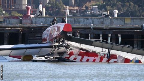 Catamaran Artemis capsized in San Francisco Bay