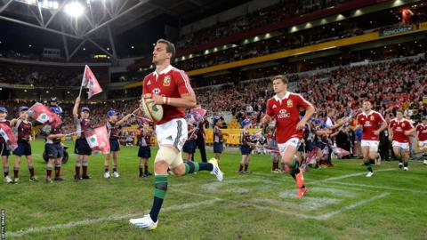 Debutant Sam Warburton leads out the British and Irish Lions at the Brisbane's Suncorp Stadium ahead of the tour game against Queensland Reds.