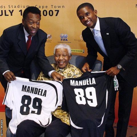 Nelson Mandela with Pele and Samuel Eto'o
