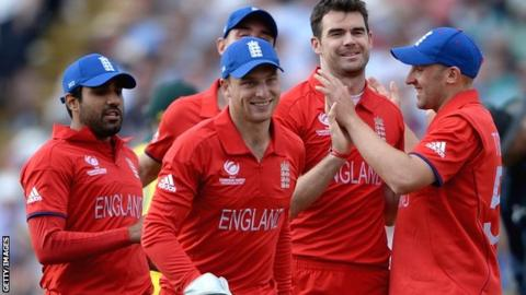 England celebrate at Edgbaston