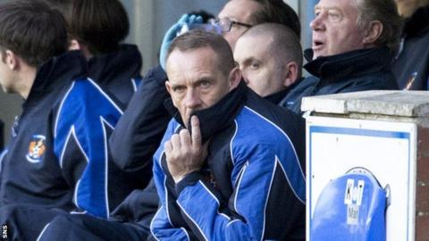 Kenny Shiels in the Kilmarnock dugout