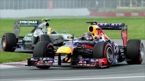Sebastian Vettel leads Lewis Hamilton