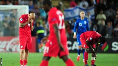 England players show their disappointment after losing to Israel 1-0 at the European Under-21 Championship