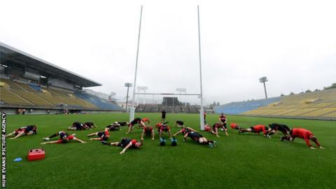 Wales training at the Chichibunomiya Stadium in Tokyo