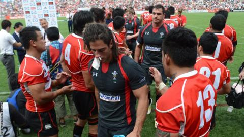 Wales debutantes Josh Navidi and Andries Pretorius look dejected after Japan win 23-8 to record their first win over the tourists