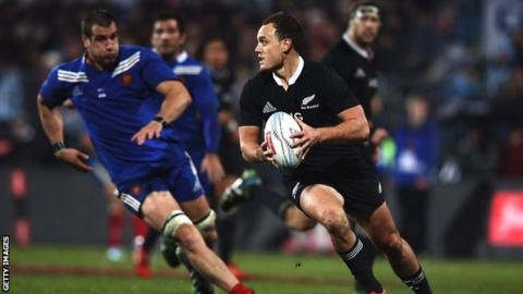Israel Dagg in action for New Zealand against France