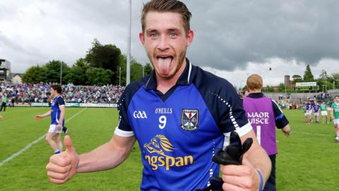 A delighted David Givney celebrates after Cavan beat Fermanagh 0-13 to 0-11 and progress to s semi-final meeting with Monaghan