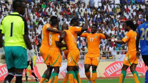 Ivory Coast celebrate one of their goals in Tanzania