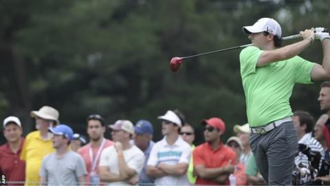 Rory McIlroy tees off at the sixth hole in Sunday's final round