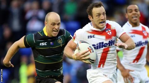 James Roby playing for England against the Exiles