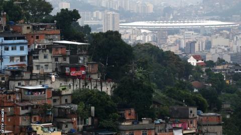 Favela and the Maracana stadium