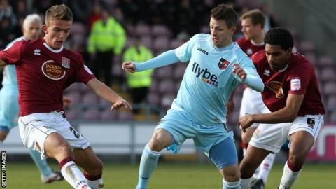 Jamie Cureton playing for Exeter against Northampton