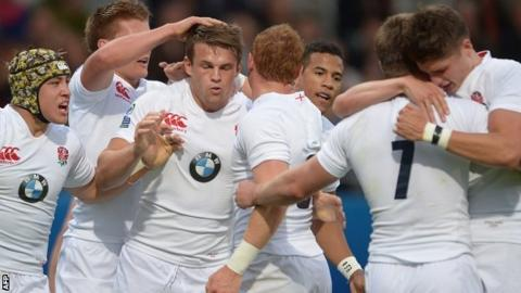 England celebrate Matt Hankin's try