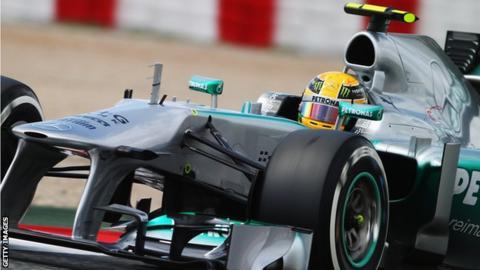 Lewis Hamilton driving a Mercedes