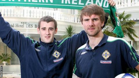 Former Derry City players Niall McGinn and Paddy McCourt