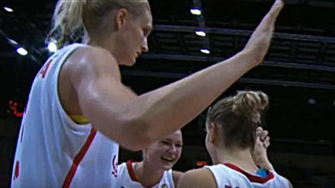 Czech Republic players celebrate victory over Great Britain