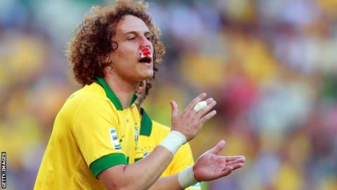 Chelsea and Brazil David Luiz broken nose
