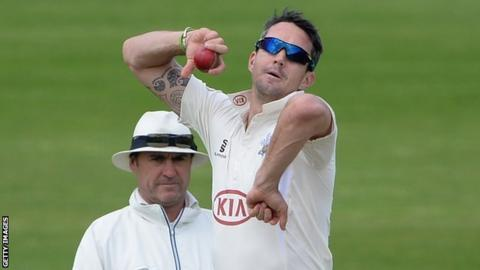 Kevin Pietersen bowling for Surrey against Yorkshire