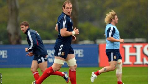 Alun Wyn Jones prepares for the Lions' first Test against Australia with Leigh Halfpenny (left) and Richard Hibbard in the background